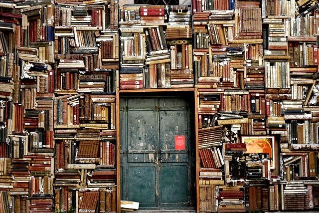 libri, porta, ingresso